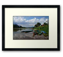Boats of the Nam Song, Laos Framed Print