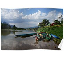 Boats of the Nam Song, Laos Poster