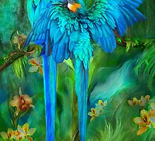 Tropic Spirits - Gold and Blue Macaws by Carol  Cavalaris