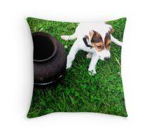 Pup & a pot Throw Pillow