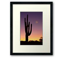 Early Morning Southwest Desert Moon Glow Framed Print