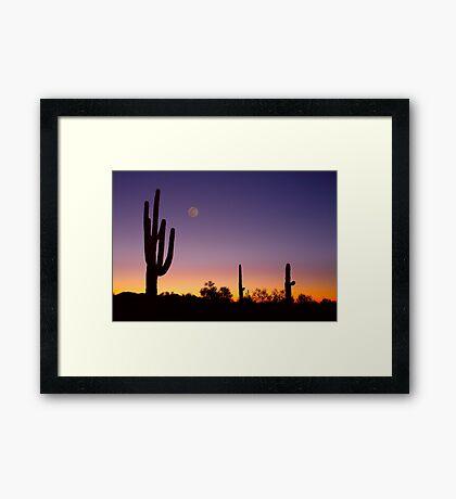 Early Morning Southwest USA Desert Moon Glow Framed Print