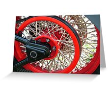 Laced Spoked Red Wheel HD Greeting Card
