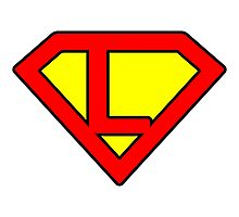 L letter in Superman style Photographic Print