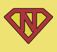 N letter in Superman style Kids Tee