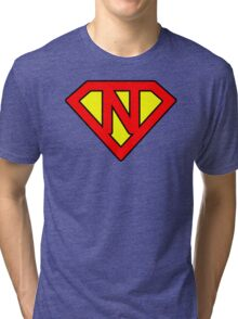 N letter in Superman style Tri-blend T-Shirt