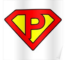 P letter in Superman style Poster