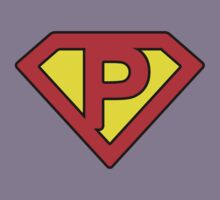 P letter in Superman style Kids Tee