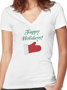 Fappy Holidays Christmas Glove Women's Fitted V-Neck T-Shirt