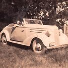 Chev circa 1937 with my Mum. by Virginia McGowan