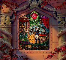 Beauty & the Beast Stain Glass Window by Serdd