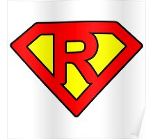 R letter in Superman style Poster