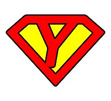 Y letter in Superman style Photographic Print