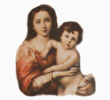 Madonna and Child, Religion, Biblical, Miracle, Religious Icon Kids Clothes