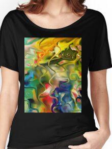 abstract art, blue, green, red, black, dark, Women's Relaxed Fit T-Shirt