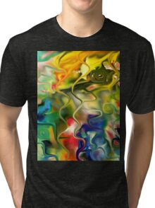abstract art, blue, green, red, black, dark, Tri-blend T-Shirt