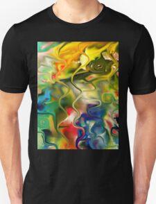 abstract art, blue, green, red, black, dark, T-Shirt
