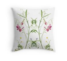 Summer French Flowers Throw Pillow