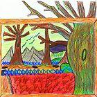 Kindergartener's Rendering of the Barren Land After the Great War c. 2007 Robert Buehner by Robert  Buehner
