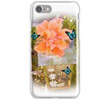 Birdhouse, hibiscus and butterflies iPhone Case/Skin