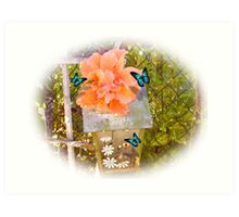Birdhouse, hibiscus and butterflies Art Print