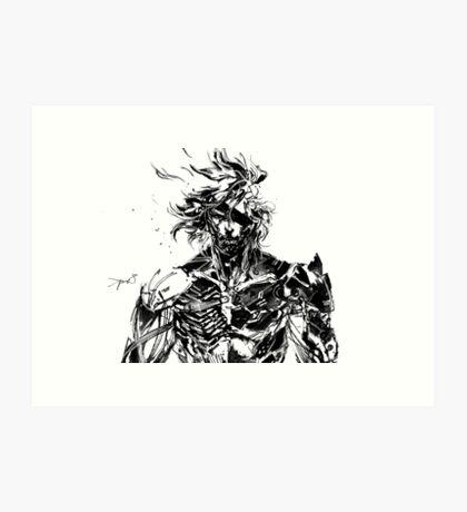 Metal Gear Rising Raiden Black and White Art Print