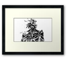 Metal Gear Rising Raiden Black and White Framed Print