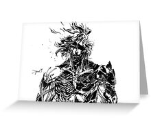 Metal Gear Rising Raiden Black and White Greeting Card