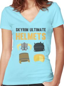 Skyrim ultimate helmets Women's Fitted V-Neck T-Shirt