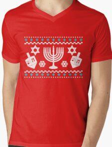 Funny Hanukkah Ugly Holiday Sweater Mens V-Neck T-Shirt