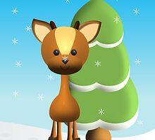 """""""Wayne Deer in the Snow"""" by trennea"""