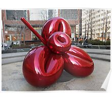 Sculpture and Reflection, Jeff Koons, Artist, Lower Manhattan, New York City Poster