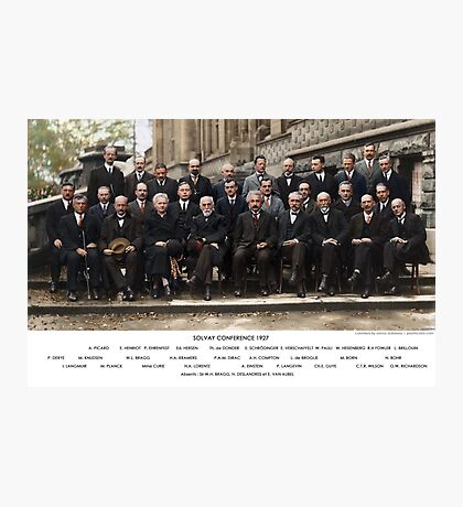 Colorized - Solvay Conference 1927. Einstein, Curie, Bohr and more. Photographic Print