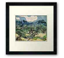 Olive Trees by Vincent van Gogh. Famous landscape oil painting. Van Gogh's unique swirling painting style. Framed Print