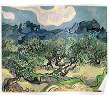 Olive Trees by Vincent van Gogh. Famous landscape oil painting. Van Gogh's unique swirling painting style. Poster