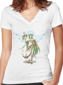 Minimalist Palutena from Super Smash Bros. 4 Women's Fitted V-Neck T-Shirt
