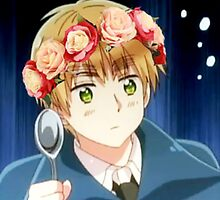 APH England in a flower crown holding a spoon by toastysenpai