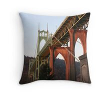 Sunrise of St. John's Bridge Portland Oregon Throw Pillow