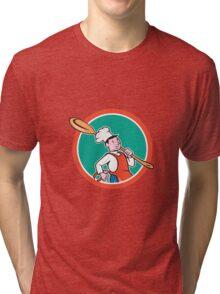 Chef Cook Marching Spoon Circle Cartoon Tri-blend T-Shirt