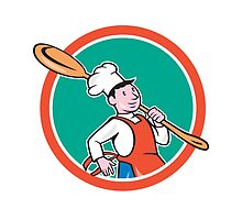 Chef Cook Marching Spoon Circle Cartoon by patrimonio