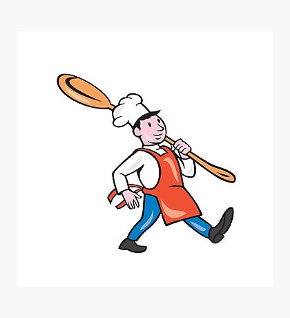 Chef Cook Marching Spoon Cartoon Photographic Print