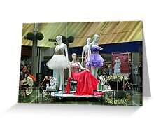 Party Dresses, Center Stage in the Atrium Wishing Pool Greeting Card