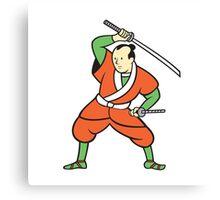 Samurai Warrior Wielding Katana Sword Cartoon Canvas Print