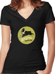 Vintage Style Boston Terrier Women's Fitted V-Neck T-Shirt