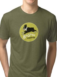 Vintage Style Boston Terrier Tri-blend T-Shirt