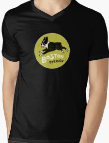 Vintage Style Boston Terrier Mens V-Neck T-Shirt