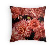 Rich Red Chrysanthemums Throw Pillow