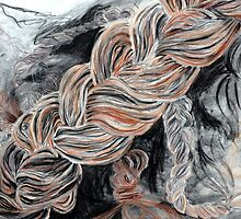 Braided yarn/hair drawing by ArtLuver