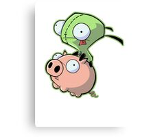 Gir riding his Pig Canvas Print