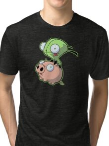 Gir riding his Pig Tri-blend T-Shirt